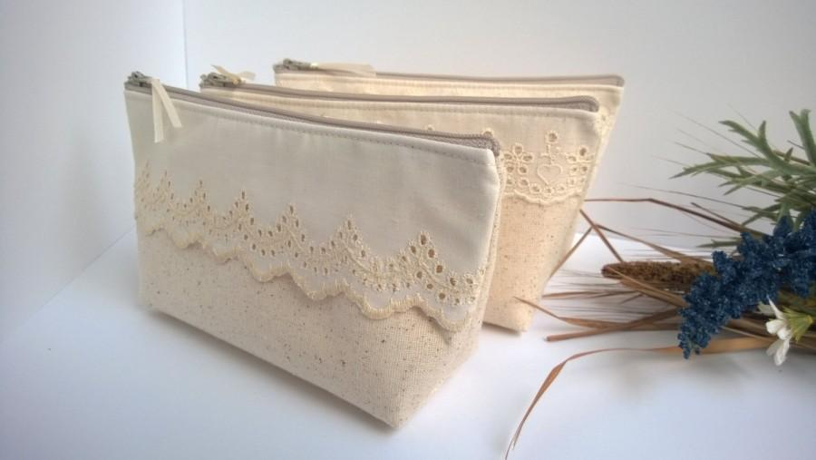 زفاف - Linen Lace Bag Clutch Set 7 Rustic Wedding Vintage Lace Bag Purse Personalize Bridesmaid Party Custom Pouch Gift Set Make-Up - Set of 6