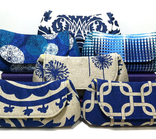 Mariage - Bridesmaid Clutches Bridal Party Purses Gifts Choose Your Fabric Navy Blue Set of 5