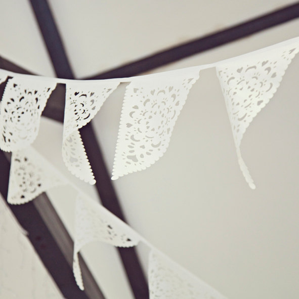 Wedding - White Wedding fabric bunting, White lace garland