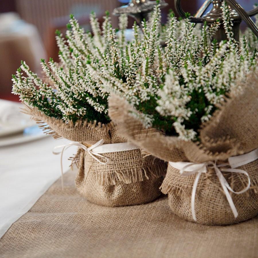 زفاف - Rustic Wedding Decoration, burlap plant wrap with satin tie, wedding favor and dramatic centrepiece
