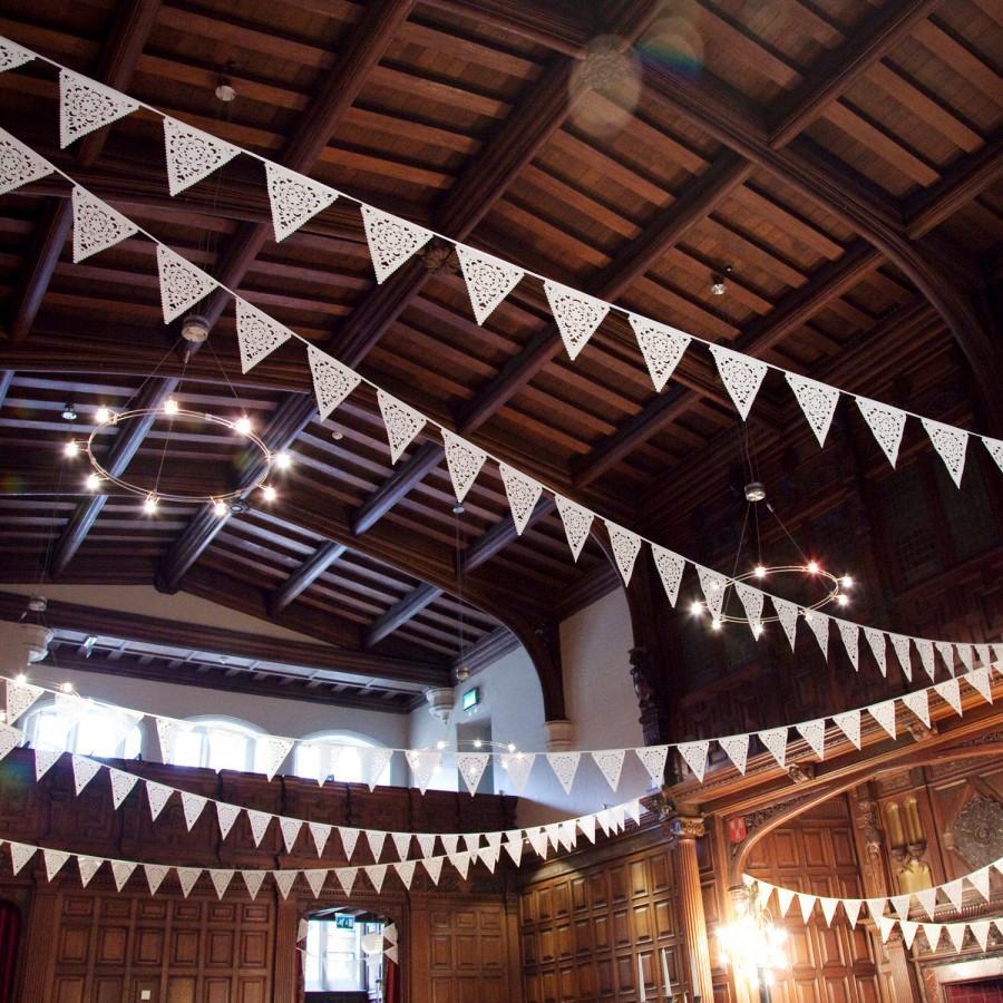 Свадьба - Romantic lace garland, shabby chic bunting, wedding flags