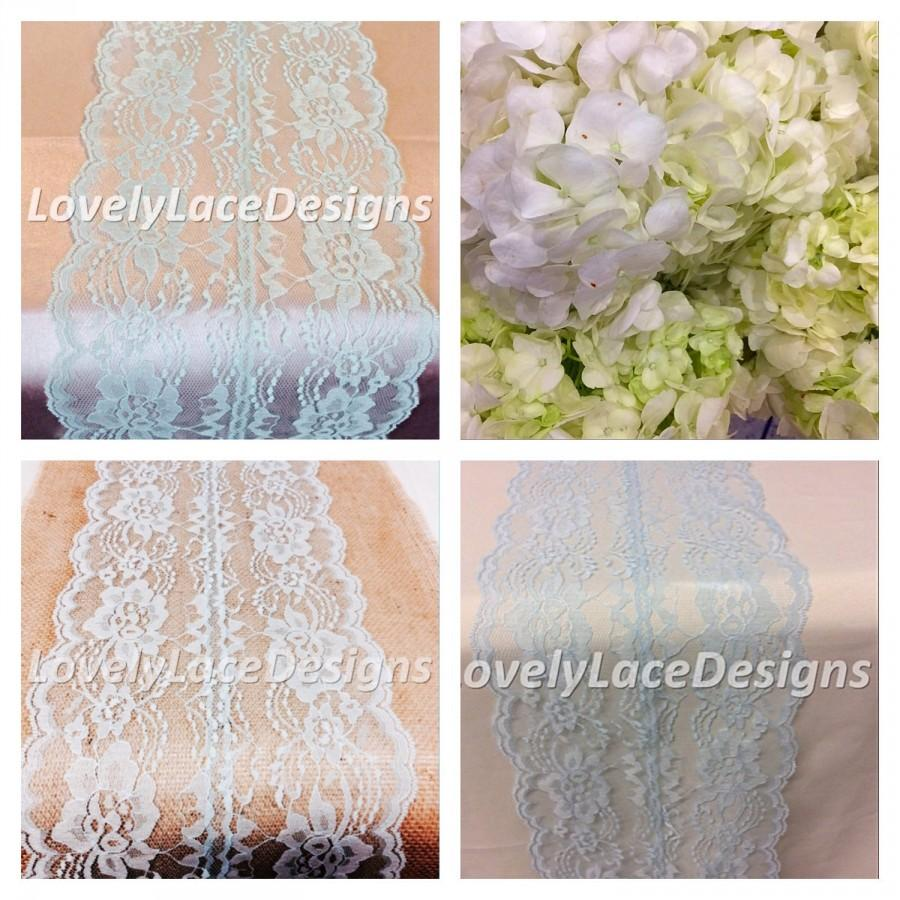 WEDDING DECOR Lace Table Runner, Light Blue /6ft 10ft Long X 8in Wide  /Vintage, Lace Table Overlay, Light Blue /Party Decor/ Table Decor