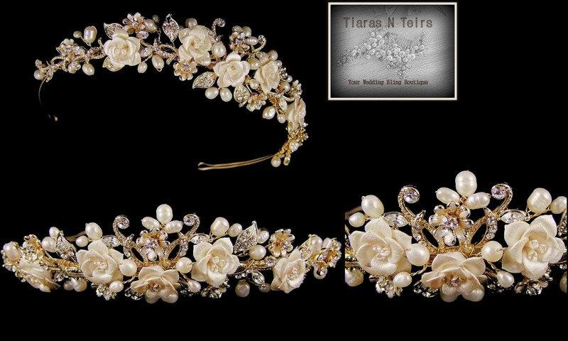 Mariage - Gold plated wedding tiara with ivory freshwater pearls