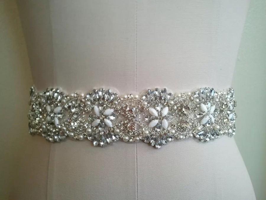Свадьба - Rhinestones and pearls sash, bridal sash, wedding dress sash