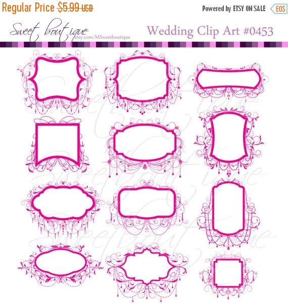 30%OFF SALE Wedding Clip Art Frames Chandelier Ornate Frame Digital ...