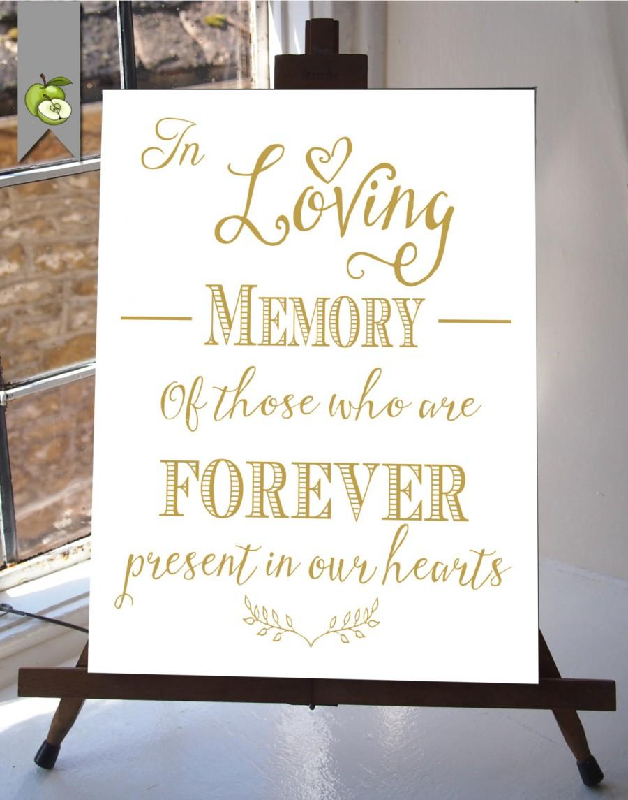 Свадьба - In Loving Memory Wedding Sign Memorial Table Gold and white DIY Printable INSTANT DOWNLOAD your wedding  Table Sign whitesuite