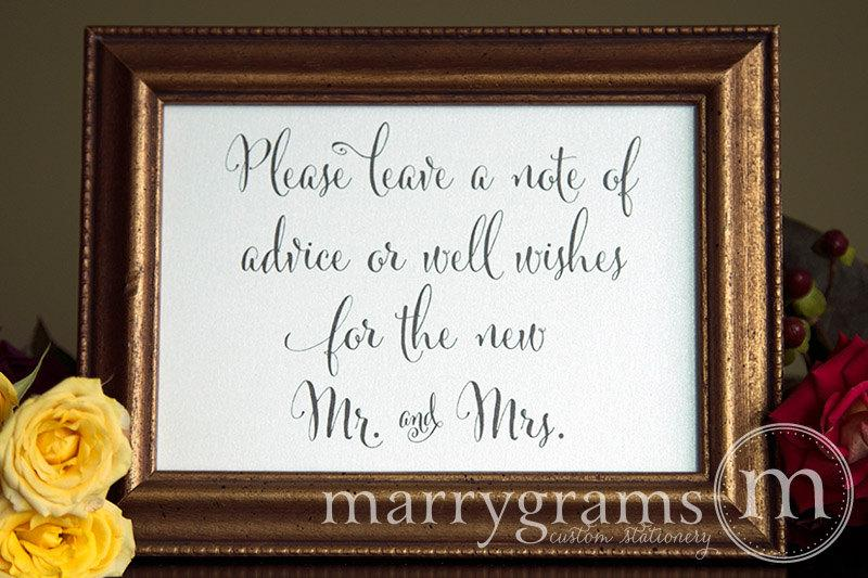 leave a note of advice well wishes table sign wedding reception signage matching numbers wishes for the new mr and mrs sign ss07