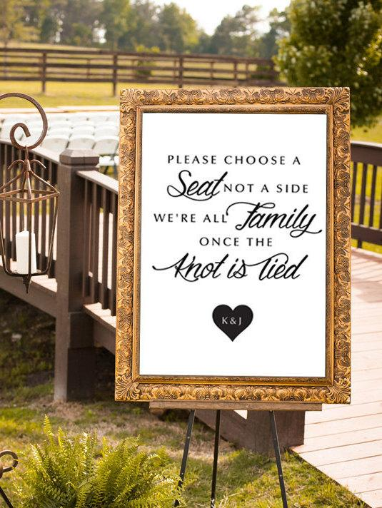 Свадьба - Choose a Seat Not a Side, Wedding Sign, We're All Family, Modern Poster, Wedding Sign, Ceremony Sign, Pick A Seat, DIGITAL, Any Size, Custom