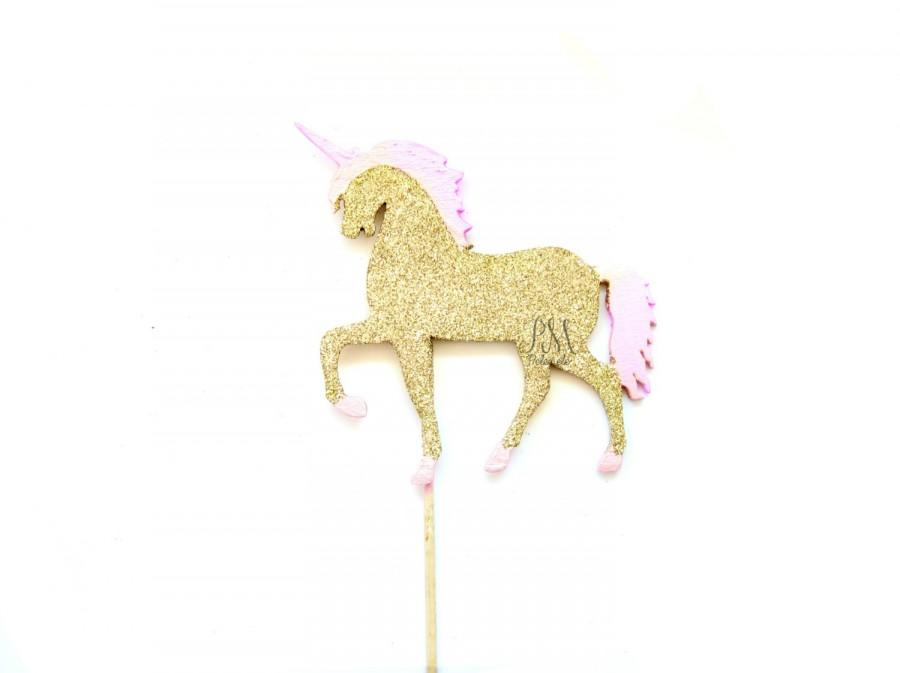 Pink \u0026 Gold Glitter Unicorn Cake Topper, Unicorn Cake Topper