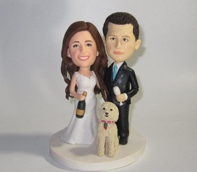 Wedding - Custom wedding cake topper with dogs, personalized cake topper, Bride and groom cake topper, Mr and Mrs cake topper