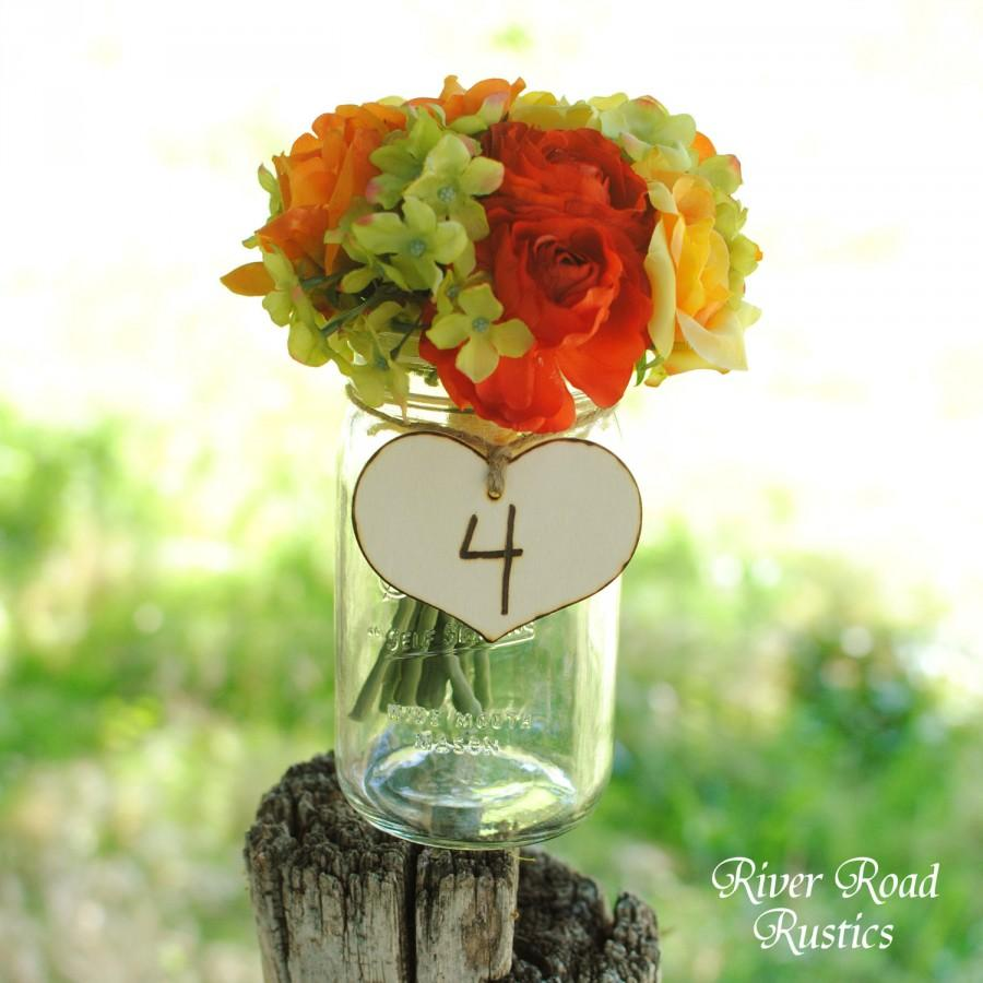 Wedding - Country Wedding Table Numbers- Rustic Wood  Hearts with Twine (set of 12) Ready to Ship.