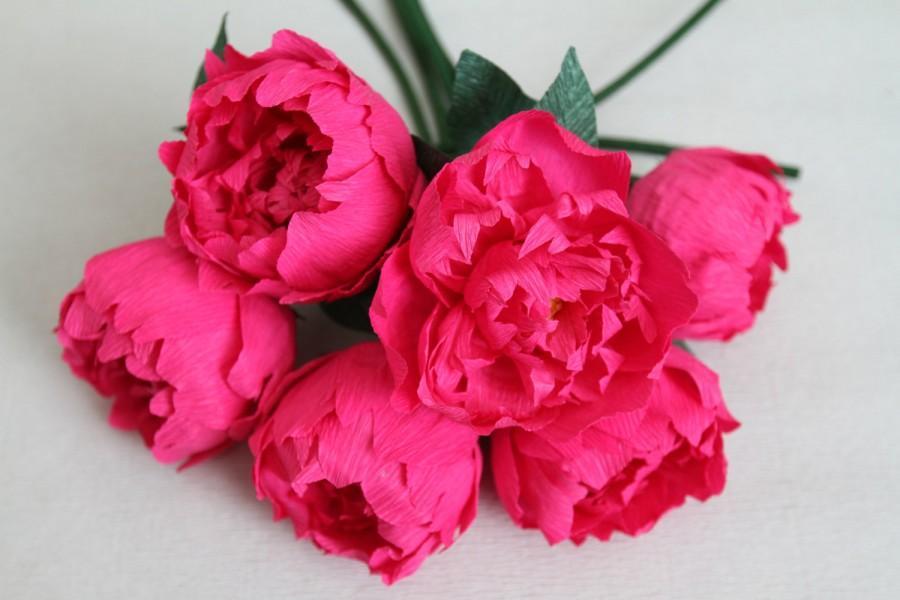 6 Pink Paper Peonies - Wedding Peonies- Crepe Paper Flowers -wedding ...