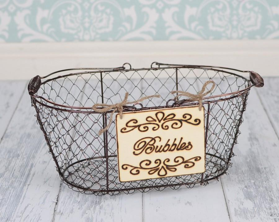 "Mariage - Wedding ""Bubbles"" Sign WITH WIRE BASKET  for Your Rustic, Country, Shabby Chic Wedding- Ready to Ship"