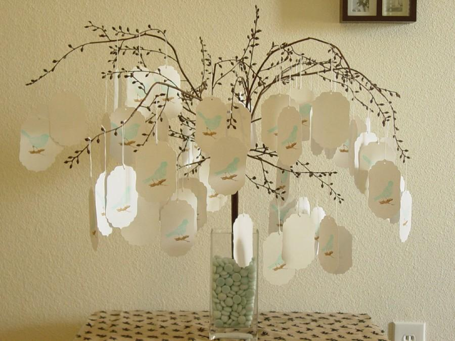 Wedding Wish Tree 50 Bird Themed Tags Centerpiece Baby Shower Comes With Free Sign