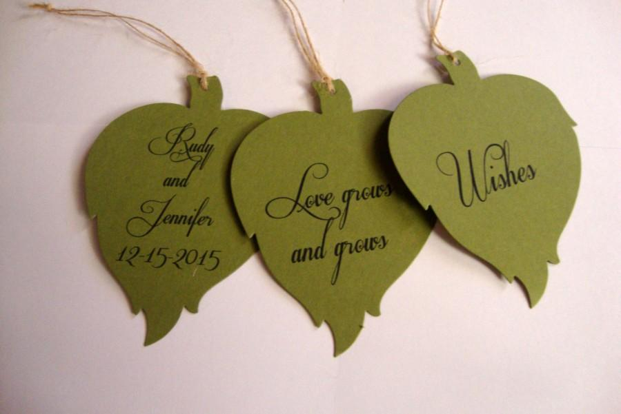 Свадьба - 50 Green Leaf Wedding Wish Tree Tags Fully Customizable