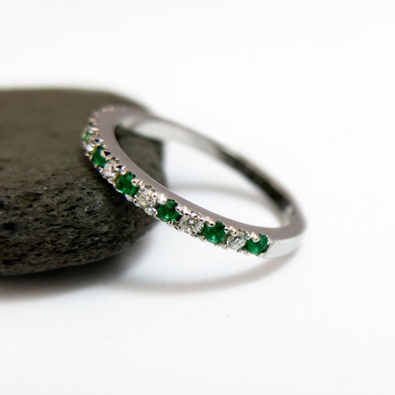 emerald and diamond wedding ring half eternity ring stackable 14k white gold wedding band may birthstone ring