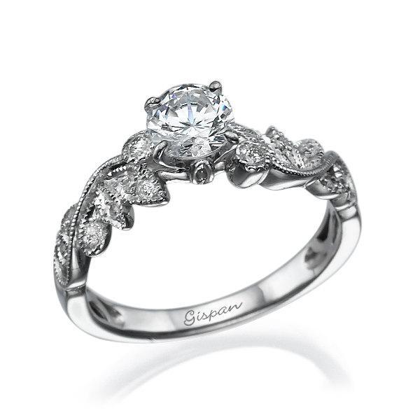 leaves engagement ring white gold 14k prong setting
