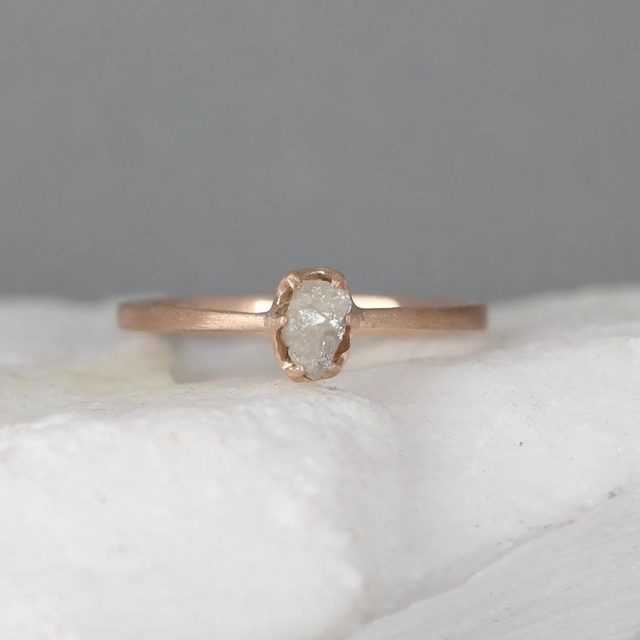 diamond engagement ring raw diamond ring 14k pink gold conflict free gem april birthstone raw gem rings rough uncut diamond ring