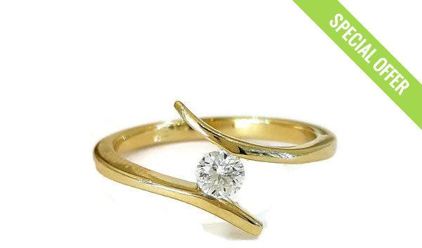 Sale Engagement Ring 14kYellow Gold Diamond Ring Curved Ring Art
