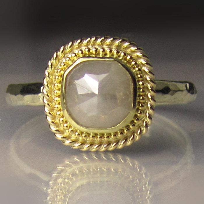 Wedding - 18k Gold Granulated Rose Cut Diamond Ring -  Engagement Ring