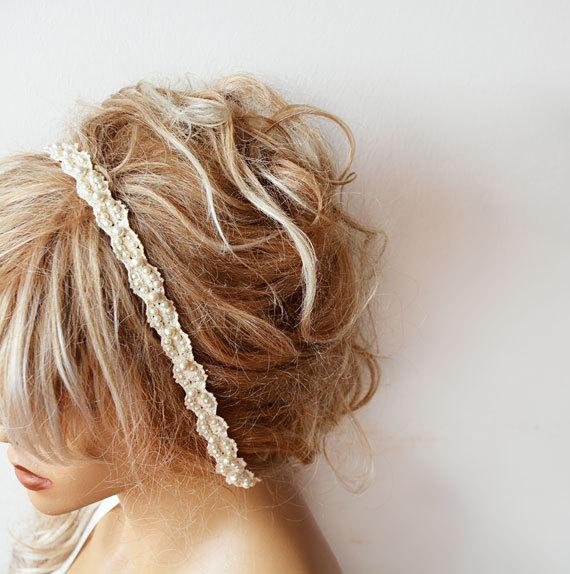 Wedding - Rustic Wedding Hair Accessory, Pearl Wedding Headband, Bridal Pearl Headband, Bridal Hair Accessory, Lace pearl Hair