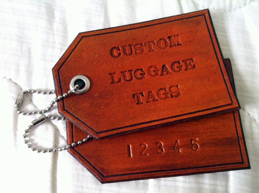 Mariage - Custom Personalized Leather Luggage Tag: 1 single luggage tag, Hand Stamped Gift