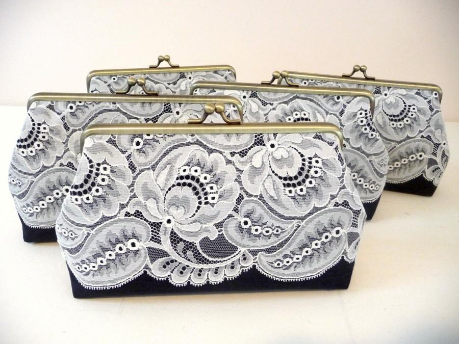 Mariage - Bridesmaid Lace Clutch Set, Charcoal Lace Clutch Set, Personalized Wedding Lace Clutch, Black and White Purse, Seven Inch Frame