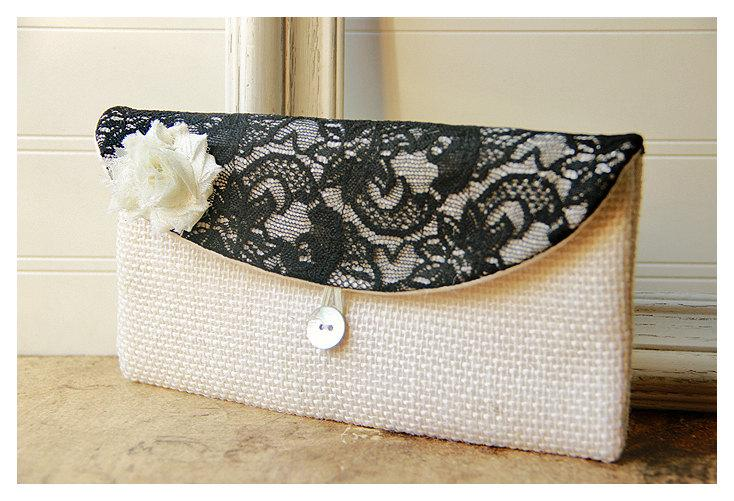 Wedding - burlap lace Personalize Bridesmaid gift burlap clutch purse bag black lace bridesmaid clutch wedding clutch bridal clutch cosmetic MakeUp