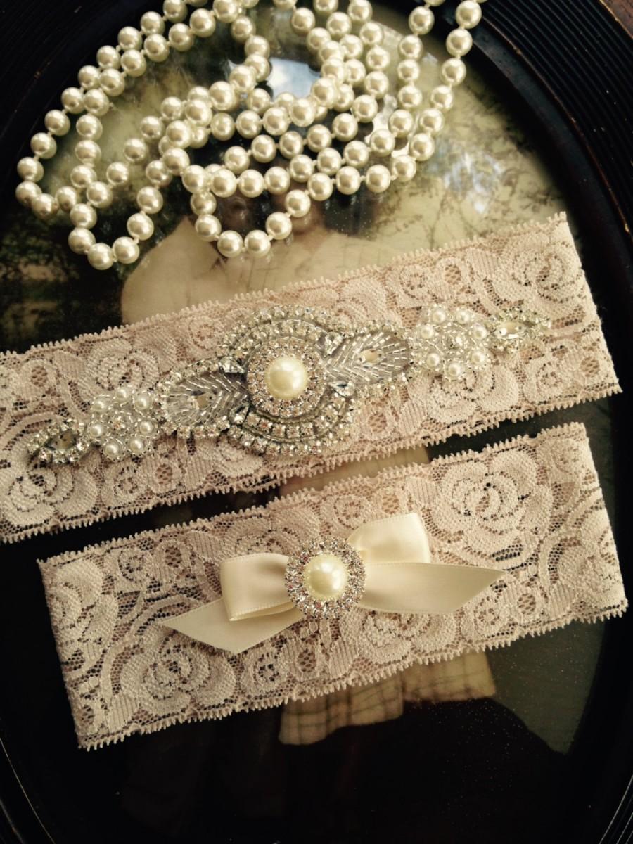 Wedding - Wedding Garter-Garter-Garters-Champagne-Rhinestone Garter-Blush-champagne garter-blush garter-lace-bridal garter-accessories-pearl-vintage