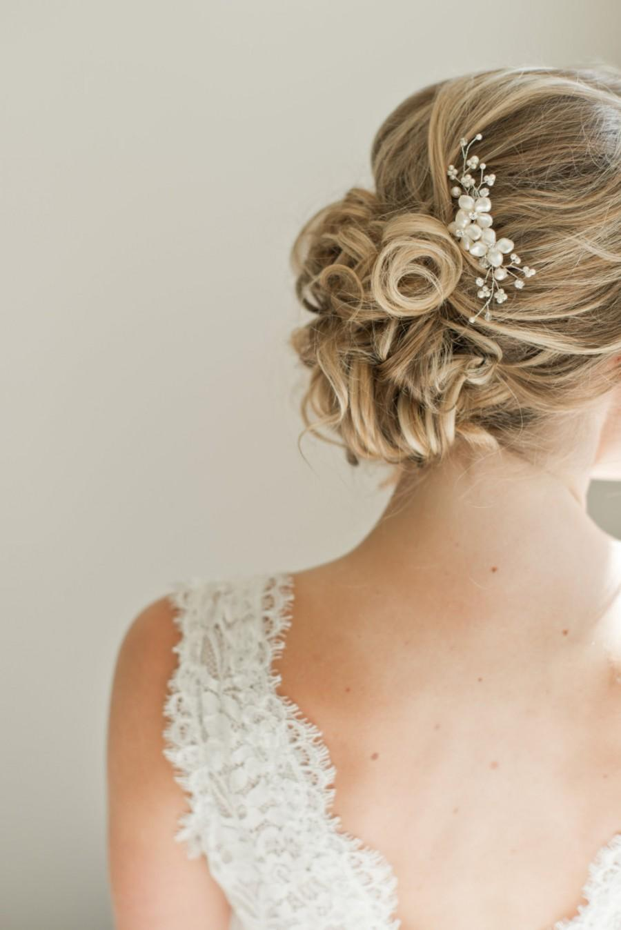 Mariage - Bridal Hair Comb, Bridal Hairpiece, Pearl Hair Comb, Bridal Head Piece, Floral Hair Comb, Floral Hairpiece