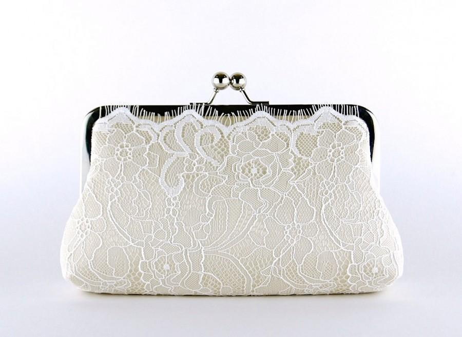 Hochzeit - Champagne Lace Bridal Clutch, Silk Clutch, Silk Lining, Bridesmaid Gift, Wedding clutch