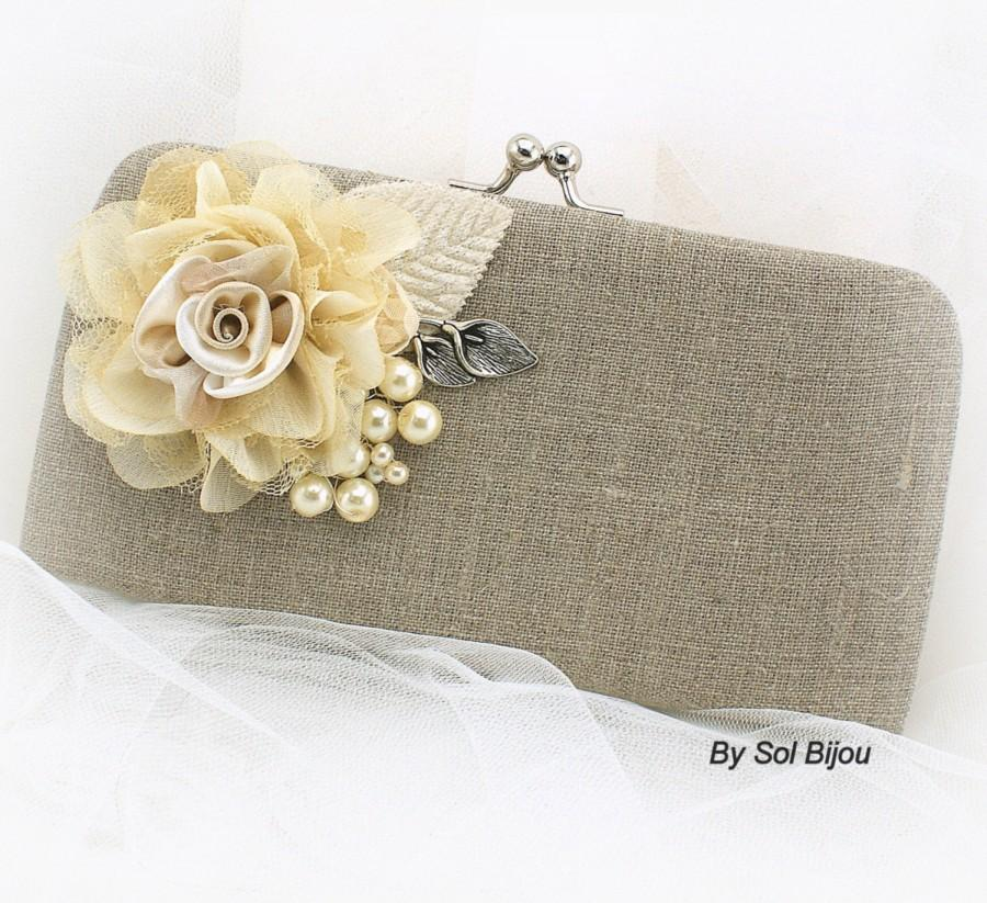 Hochzeit - Linen Clutch, Pearl Clutch, Bridal, Wedding, Bridesmaids, Maid of Honor, Handbag, Shabby Chic, Rustic, Ivory, Silver, Lace, Vintage Style