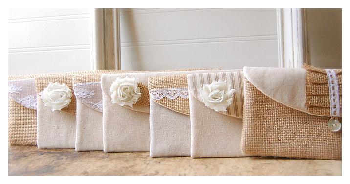 Hochzeit - burlap lace wedding, clutch purse, bridesmaid clutch, rustic wedding, shabby chic, choose flower color Personalize, Bridesmaid gift set of 5