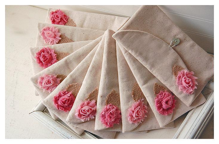 Hochzeit - Personalized Bridesmaid Gift Idea, Bridesmaid Clutch, Fall Wedding Accessory, Clutch Bridesmaid Gift, Wedding Party Country Wedding Set of 4