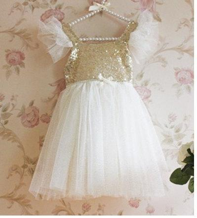 Düğün - Ivory Gold Sequin Princess Birthday party Flower Girl dress