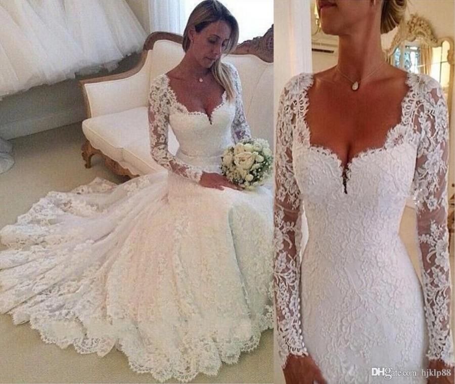 2015 Wedding Dresses Long Sleeves Lace Wedding Gowns Mermaid ...
