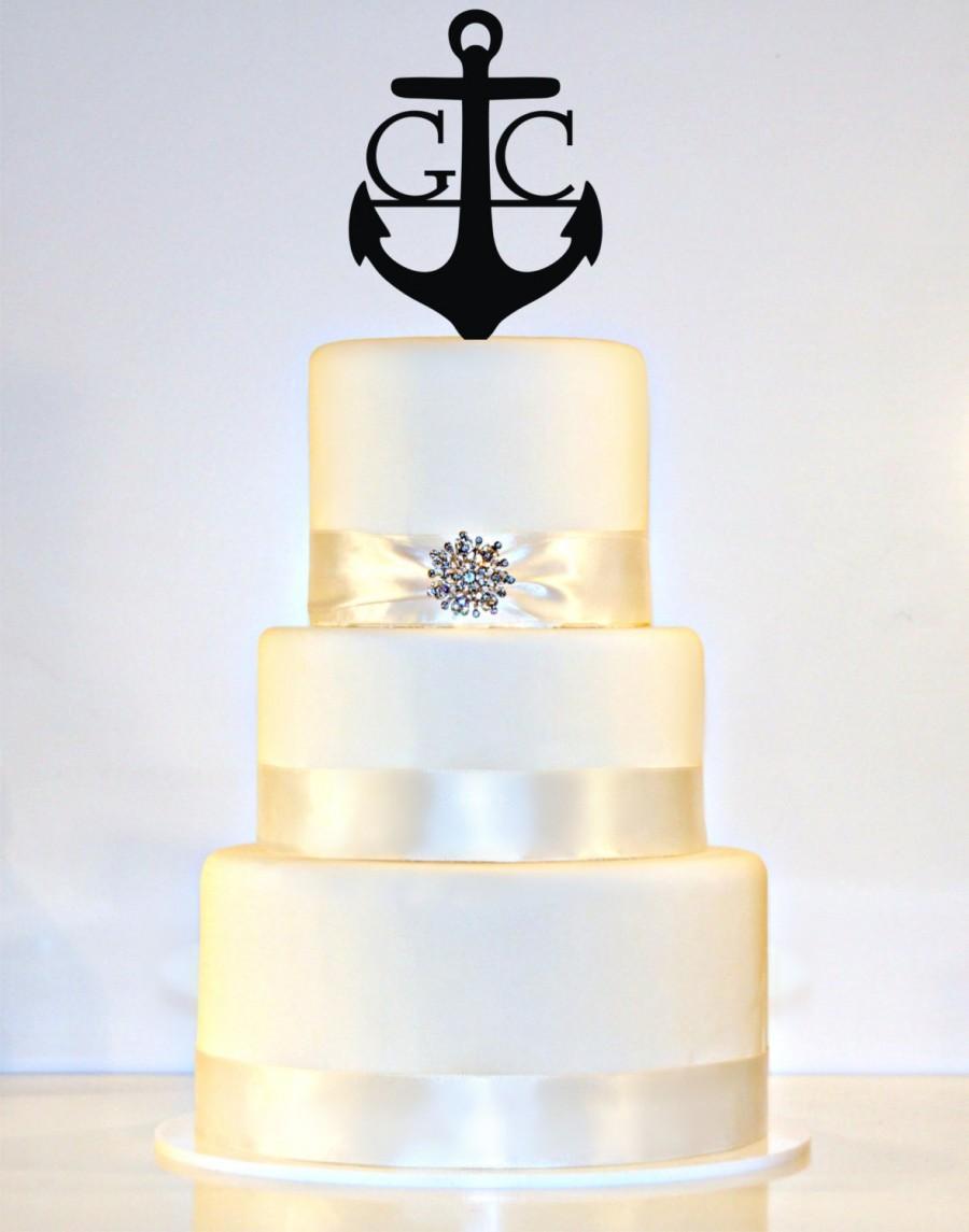 زفاف - Anchor Wedding Cake Topper Monogram in ANY LETTER A B C D E F G H I J K L M N O P Q R S T U V W X Y Z