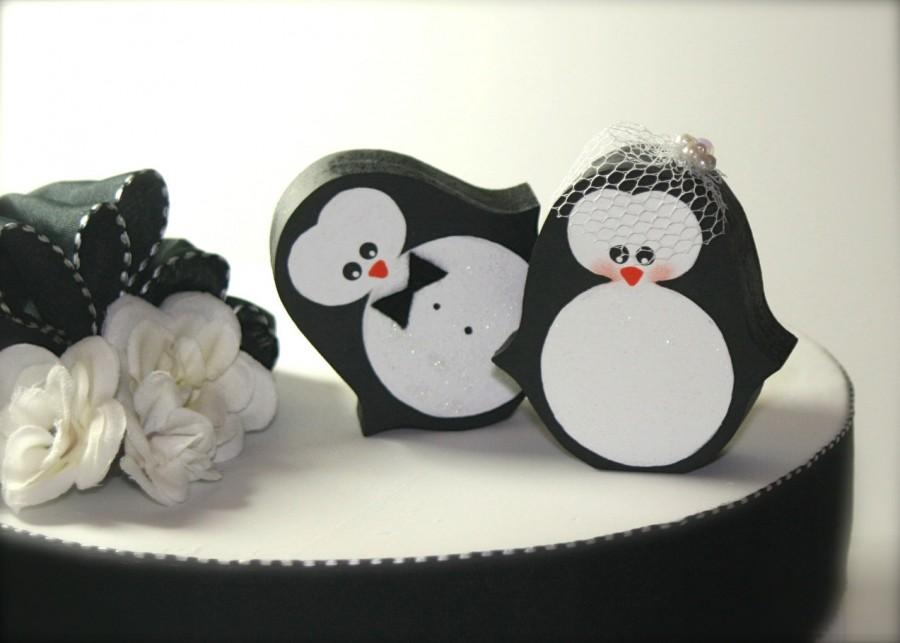 Hochzeit - Penguins Wedding Cake Topper Penguin Winter Wedding