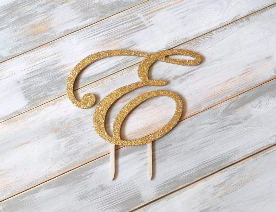Wedding - 6'' glitter Cake Topper , wood wedding cake topper, gold monogram , glitter initial , gold letter , script cake topper