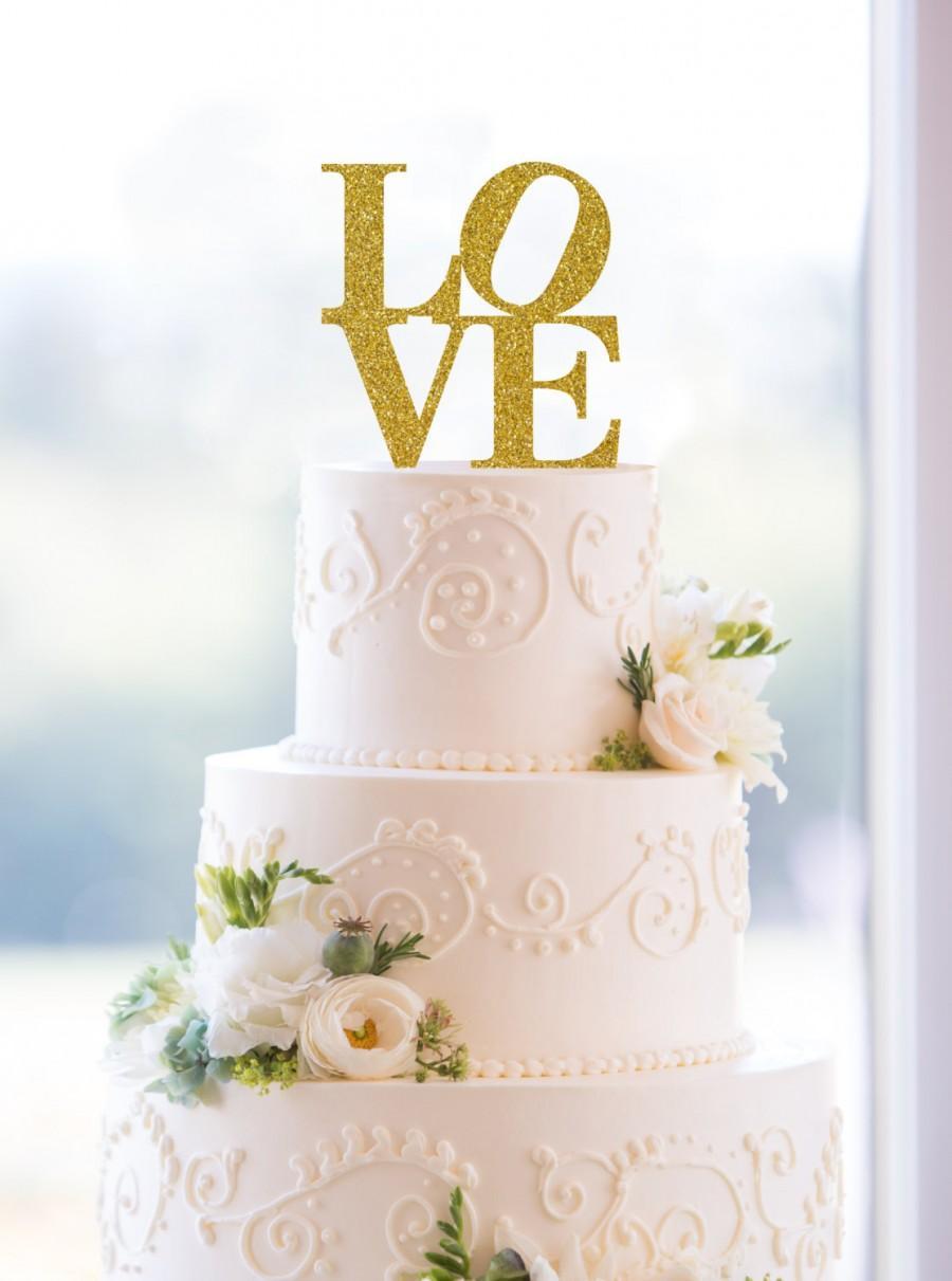 زفاف - Glitter Philadelphia Love Cake Topper – Custom Wedding Cake Topper Available in 31 Glitter Options- (S042)