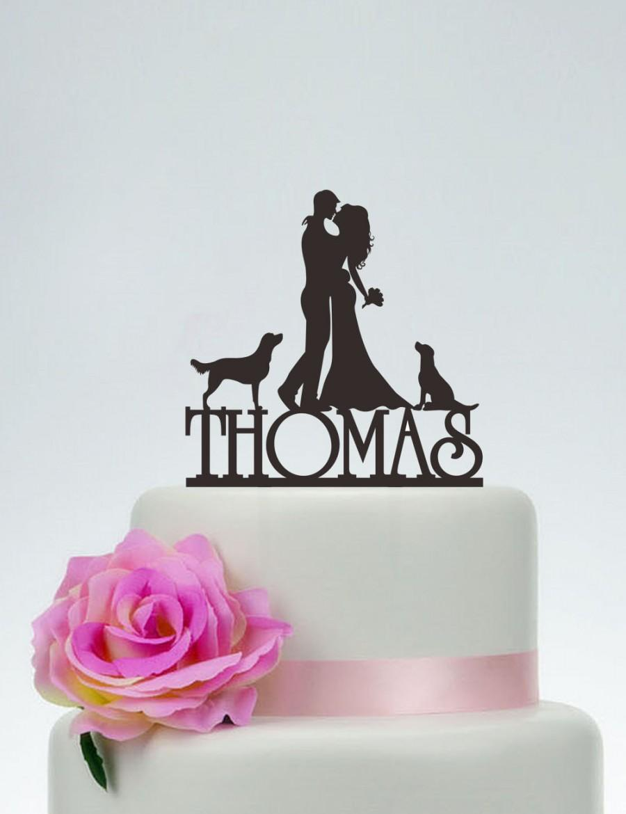 زفاف - Wedding Cake Topper,Bride and Groom Cake Topper,Couple Silhouette,Custom Cake Topper,Dog Cake Topper,Funny Cake Topper C087