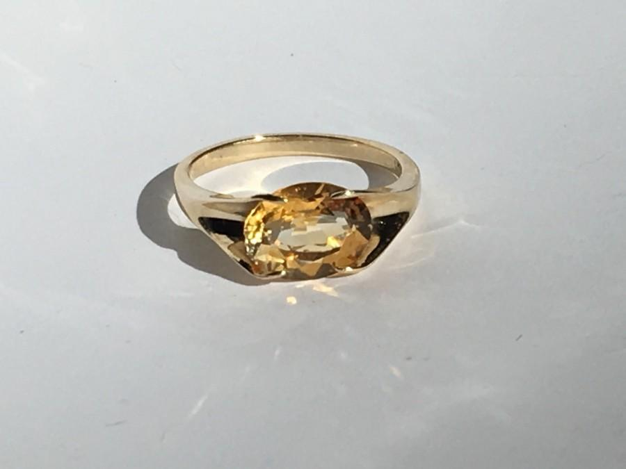 vintage citrine ring in 9k yellow gold unique engagement