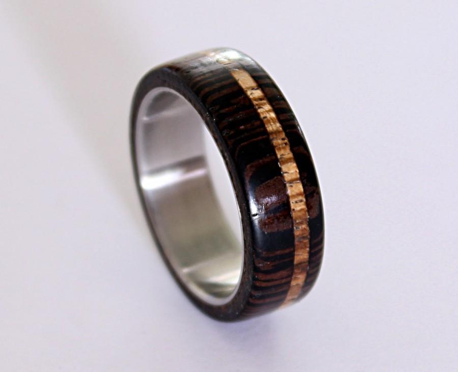 Wedding - Titanium men ring with wenge wood and zebrano wood inlay