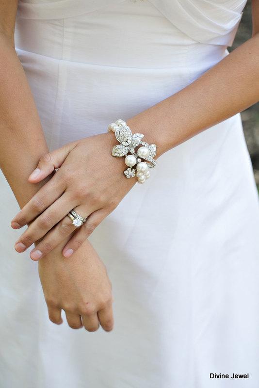 Wedding - Bridal Pearl Bracelet,Bridal Rhinestone Bracelet,Ivory or White Pearls,Bride,Cuff,Statement Bridal Bracelet,Pearl Rhinestone Bracelet,SHARON