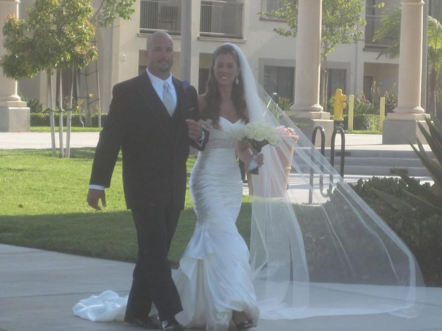 Wedding - Single layer floor length wedding veil white, diamond or ivory