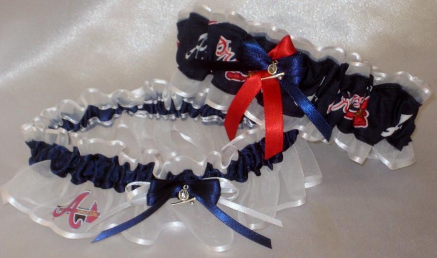 Свадьба - Atlanta Braves Baseball Garter Set with Sterling Silver Baseball Charm