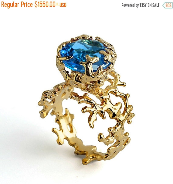 Свадьба - 20% off SALE - CORAL Blue Topaz Engagement Ring, 18k Gold Ring, Unique Gold Ring, Gold Gemstone Ring, London Blue Topaz Ring Gold