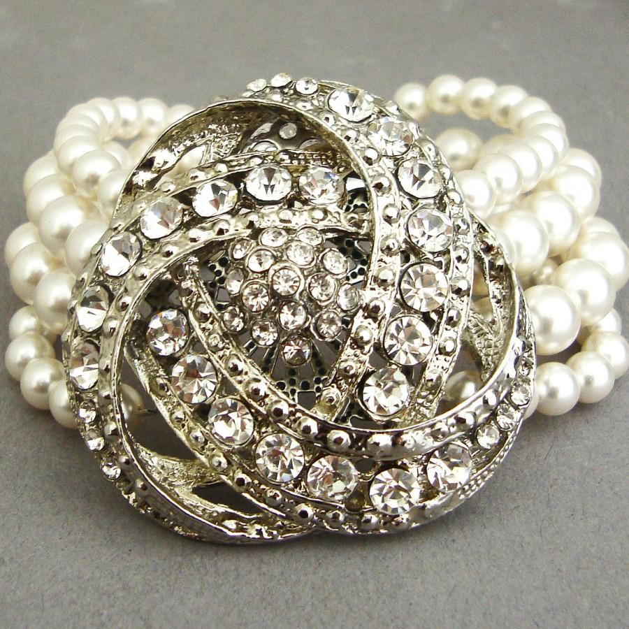 Statement Wedding Bracelet Art Deco Bridal Bracelet Vintage Bridal Jewelry Pearl Cuff