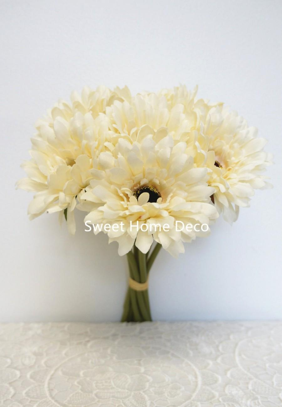 زفاف - JennysFlowerShop 13'' Silk Artificial Gerbera Daisy Bouquet Cream  (w/7 stems, 7 Flower Heads),Home/wedding Decorations