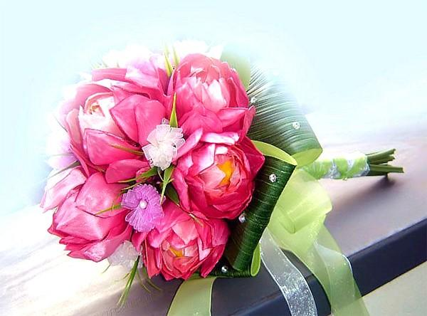 زفاف - Bridal bouquet package. LOTUS- Hand tied with totally handmade ribbon flowers. Matching boutonniere included.